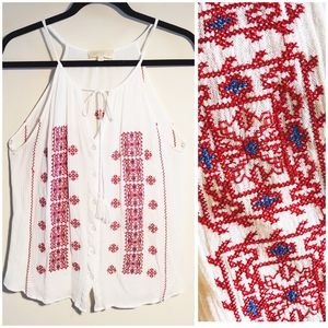 Lucy & Laurel Red/White Tank Top, Embroidery